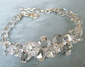 Crystal Wedding Bracelet, Luxurious Rock Candy Bracelet, Clear Crystal, Sparkle Bracelet