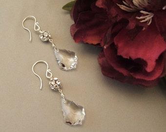 Faceted Teardrop Wedding Earrings, Rhinestone Crystal Earrings, Rhinestone Earrings, Bridal