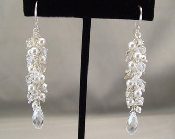 Fringed Column Wedding Earrings, Handwired White Pearls and Crystal, Long Earrings, Cascade Earrings