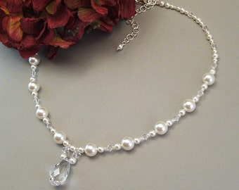 White Pearls and Clear Crystal Beaded Bridal Necklace, choice of white or ivory pearls available