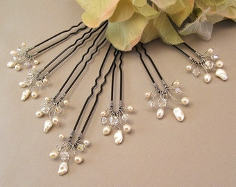 Wedding Hair Accessories - Set of Seven Freshwater Pearl and Clear Crystal Quarter Size Bridal Hair Pins