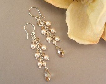 Ivory Wedding Gown Earrings, Golden Shadow Cascade Earrings, Choice of Sterling Silver or 14k Gold Filled