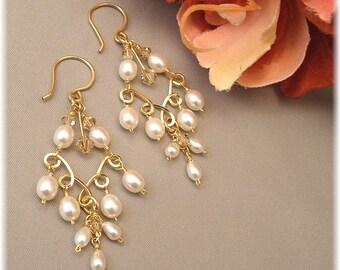 Bridal Chandelier Earrings, Pearl Crystal Chandelier Earrings, 14k Gold Filled Chandelier Earrings