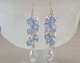 Something Blue Wedding Earrings, Cascade Earrings
