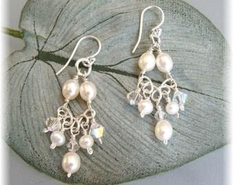 Pearl Chandelier Earrings, Freshwater Pearl Earrings, White Weddings, Choice of white or ivory pearls