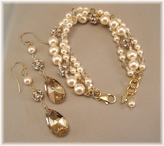 Golden Hue Bracelet and Earring Set, Rhinestone Bridal Jewelry, Swarovski Rhinestones