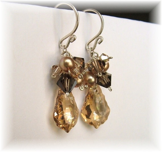 Bridesmaid Earrings - Dark Brown Espresso to Golden Champagne Mix - Briolette Earrings, Choice of 14K gold filled or sterling silver