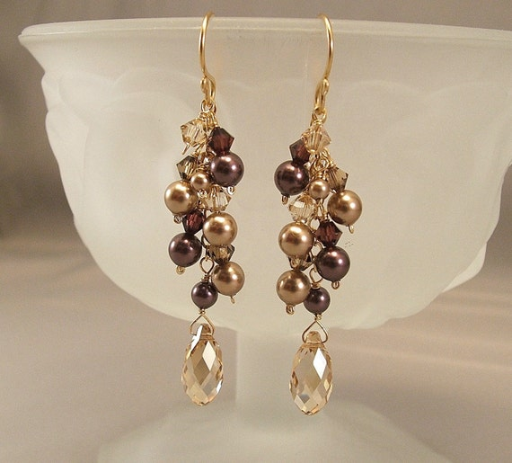 Rich Burgundy  and Golden Bronze Blend Cascade Earrings, Swarovski Pearls, Bridesmaid Earrings, 14K Gold Filled