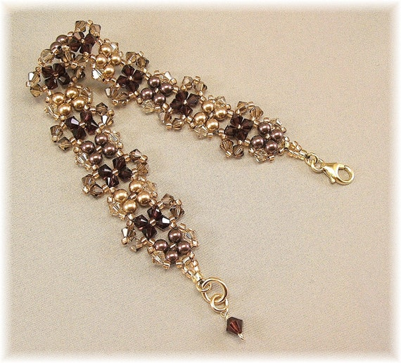 Rich Burgundy and Golden Bronze Blend Cuff Bracelet, Swarovski Pearls and Crystals, Bridesmaid Jewelry, 14K Gold Filled