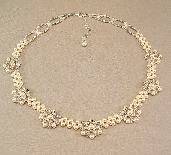 Regal Elegance Woven  Bridal Statement Necklace -  Ivory Pearls and Clear Swarovski Austrian Crystal with silver accent beading