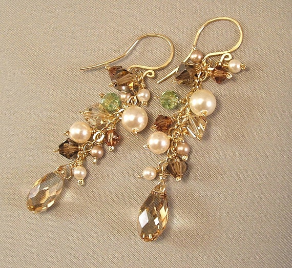 Honey, Green and  Brown Color Mix Cascade Earrings, Green Brown Earrings, 14k Gold Filled and Swarovski Austrian Crystal