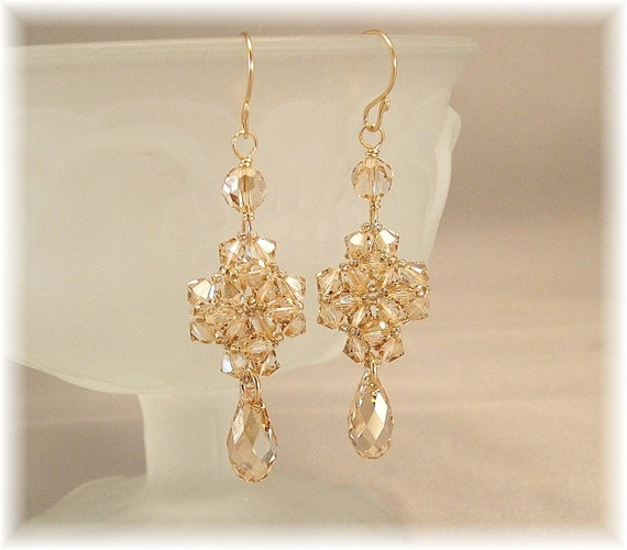 Light Champagne Wedding Earrings, Formal Bridal Earrings, Bridesmaid Earrings, Woven Crystal Earrings, Teardrop Earrings
