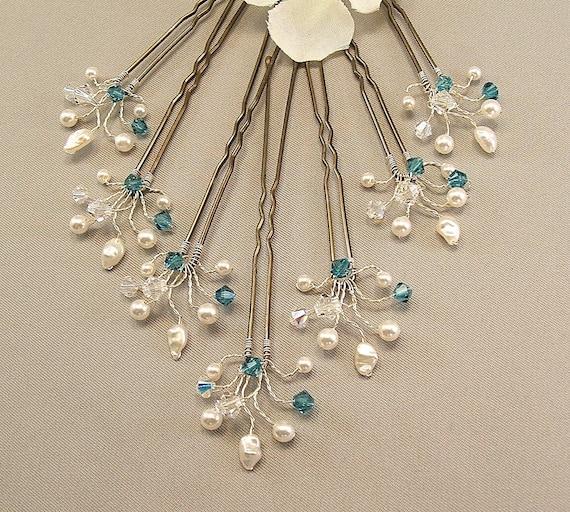 Custom Wedding Hair Accessories, Indicolite Crystal Handwired Bridal Hair Pins, Wedding Hair Pins