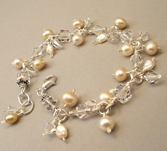 Cluster Charm Bracelet, Ivory Wedding Gown Bracelet - Sterling Silver, Ivory Pearls and Clear Swarovski Austrian Crystal