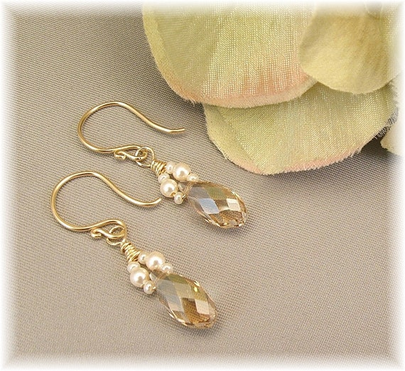 Ivory Creme Capped Swarovski Crystal Teardrops, Available in 14K gold filled or sterling silver metal
