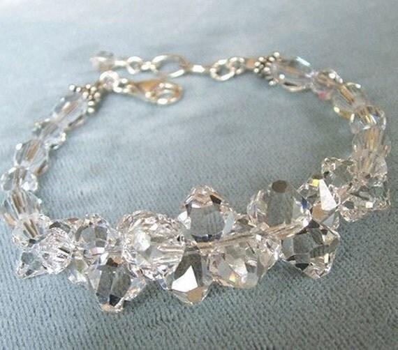 Crystal Wedding Bracelet, Luxurious Rock Candy Bracelet, Clear Crystal, Sparkle Bracelet