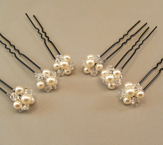 Cream Pearl Wedding Hair Accessories, Bridal Hairpins, Bridal Hair, Pearl and Crystal Hair Pins, available with either white or cream pearl