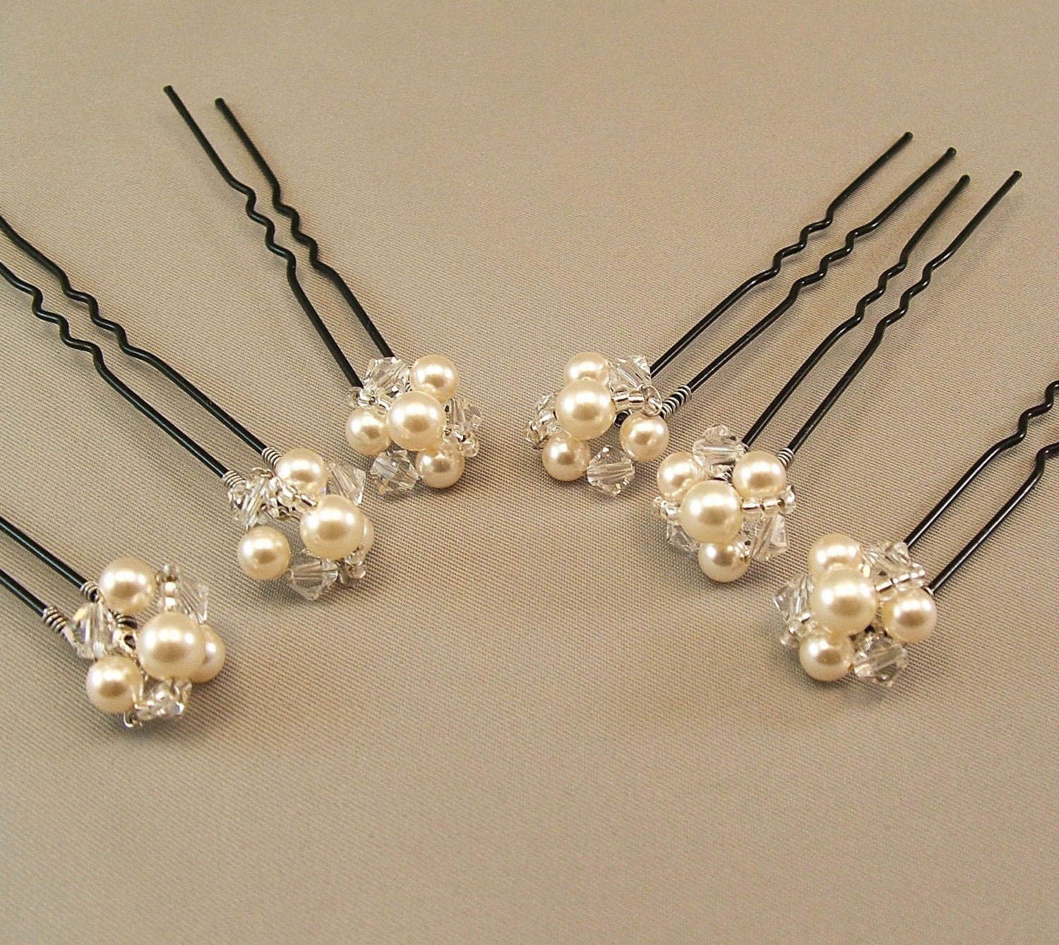 Hair Pins : Wedding Hair Accessories Pearl and Crystal by BridalDiamantes