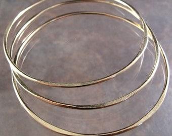 Gold Filled Hammered Bangles, Set of 3 (Three) Stackable Bangles