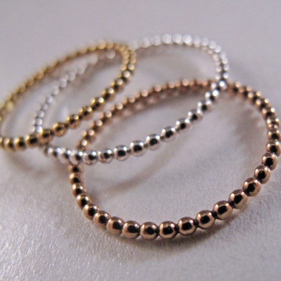 Beaded Bliss Stack Ring Trio - Stacking, Rings, Jewelry