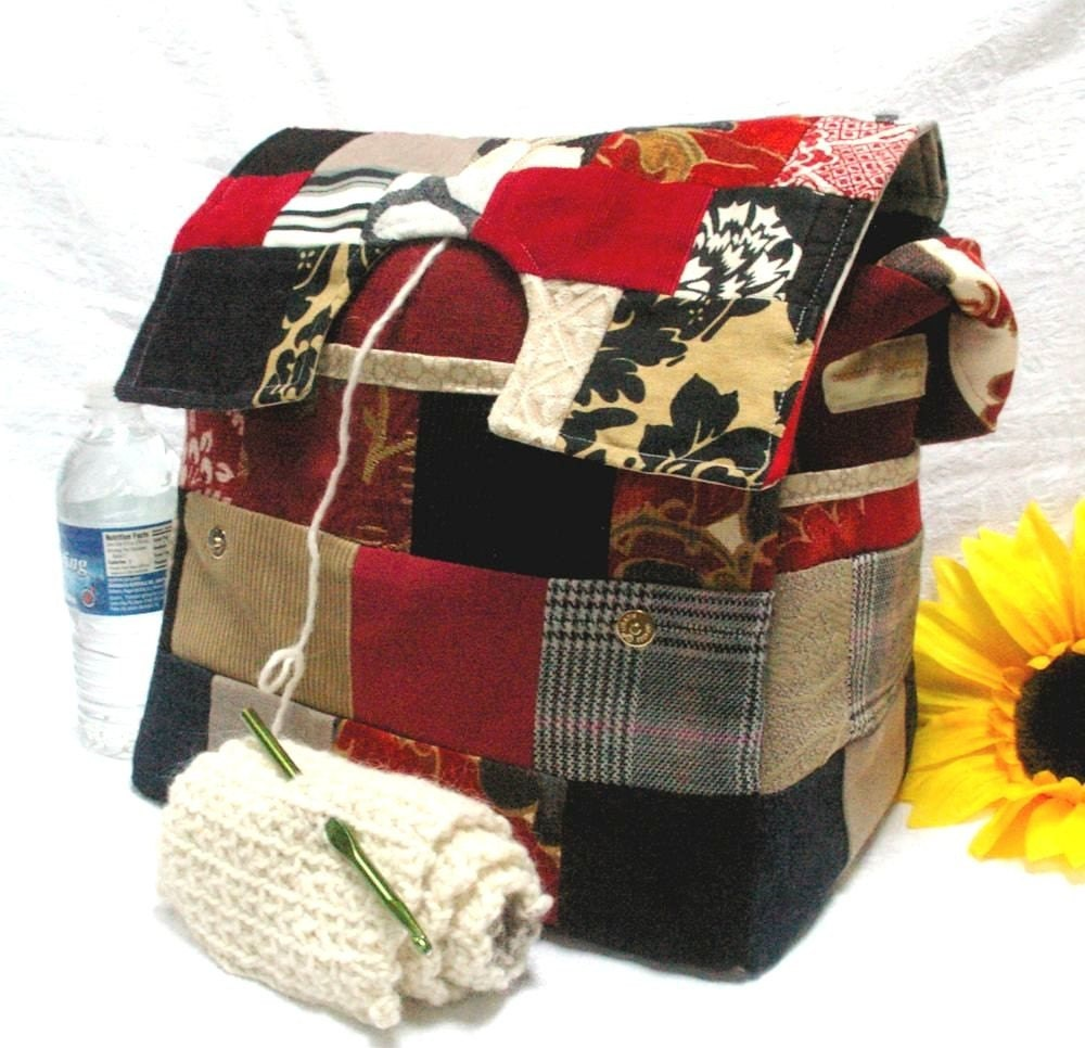 Patchwork Knitting Bag with Yarn Divider and by Debdonnellydesigns