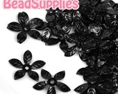 FG-FG-09015- Nickel free, Matted Black enameled, 5-leaf beads cap, 12 pcs