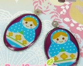 CH-LU-01092 - (New and Exclusive) Matryoshka Doll oval cameo charm, Ms Ms Baby blue   - Special Edition, 2pcs