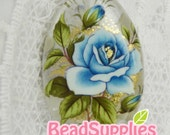 BE-TS-02016 - Japanese  tensha bead, translucent beads with baby blue rose , 1 pc, oval