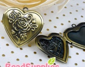 CH-ME-03145 - Nickel-free Antique Brass  Heart locket with rose (in high quality plating), 2 pcs