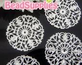 FG-FG-01038- Nickel Free, lead free silver plated 4-heart round filigree, 4 pcs