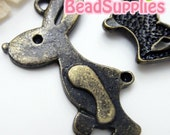 CH-ME-03231 - Antique Brass, 3D big bunny charm,4 pcs
