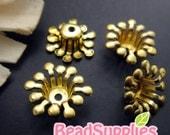 FG-FG-08057- Nickel Free, Raw Brass, Flower bud beadcap, 24 pcs
