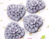 CA-CA-05603- Small heart with flowers, blueberry, 6 pcs
