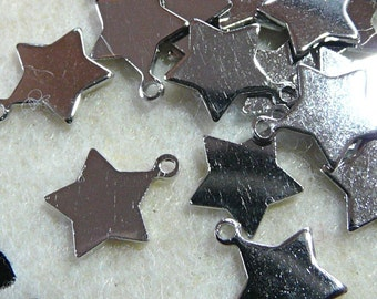 CH-ME-09019 - Silver plated, Star Tag. 24pcs