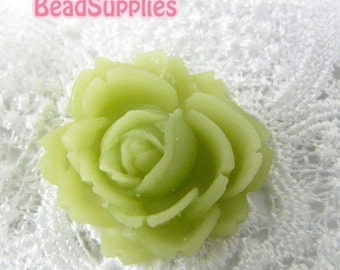 CA-CA-00309 - Jade Green Flat Rose Cabochon, 2 pcs
