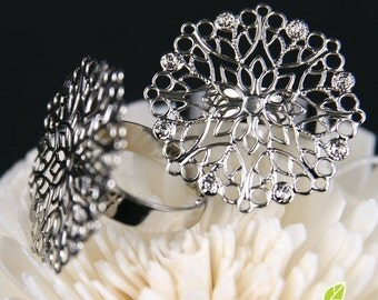 Clearance - FN-RB-01022 -  Nickel free Silver plated Big Flower  filigree ring base, 4 pcs