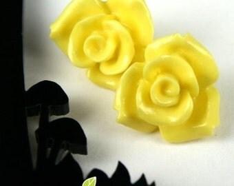 CA-CA-10121- (New and Unique) 3D Rose, Yellow,2pcs