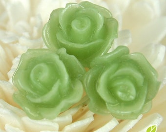 CA-CA-10207- (New and Unique) 3D Blossom Rose,peridot, 4pcs