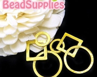CH-ME-02081 - Gold plated, Interlocking circles and square, 4 pcs