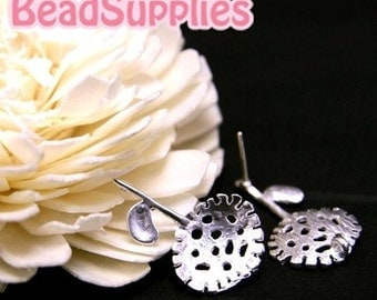 FN-ER-01023 - Nickel FREE Silver Plated, A single flower stud earwire, 2 pairs (with ear nuts)