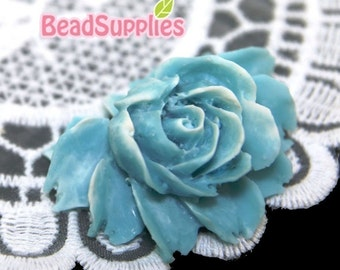 CA-CA-02914 - Baby Blue Snowy Rose Cabochon, 2 pcs