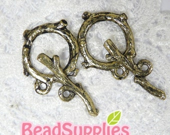FN-CL-03006 -Antique brass branch Toggle clasp, 4 sets