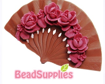 CA-CA-03702 - Oriental Rose Fan Cabochon, Maroon and Wood , 4 pcs