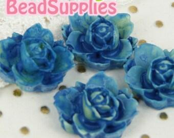 CA-CA-05421- Lotus Flower- tie-dyed blue, 4 pcs