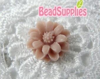 CA-CA-01221 - Peach Pink  mini flower Cabochon, 6 pcs