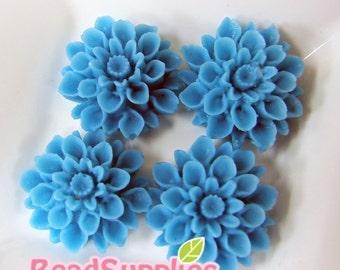 CA-CA-01510 - Turquoise Blue chrysanthemum Cabochon,  6 pcs