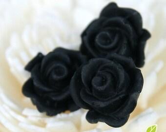 CA-CA-10211- (New and Unique) 3D Blossom Rose,black, 4pcs
