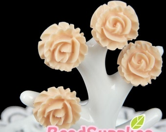 CA-CA-04401 - (NEW)Ruffle Rose Cabochon, Peach, 6 pcs