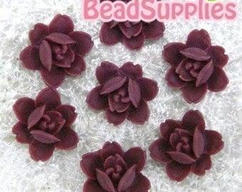 CA-CA-04915 - 6-petal Flat rose- maroon, 4 pcs