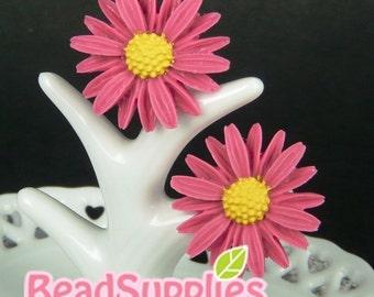 CA-CA-00505 - Fuchsia/Pink sunflower Cabochon, 2 pcs